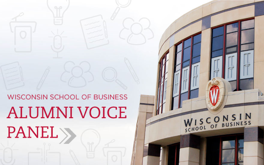 An image of Grainger Hall with the words Alumni Voice Panel
