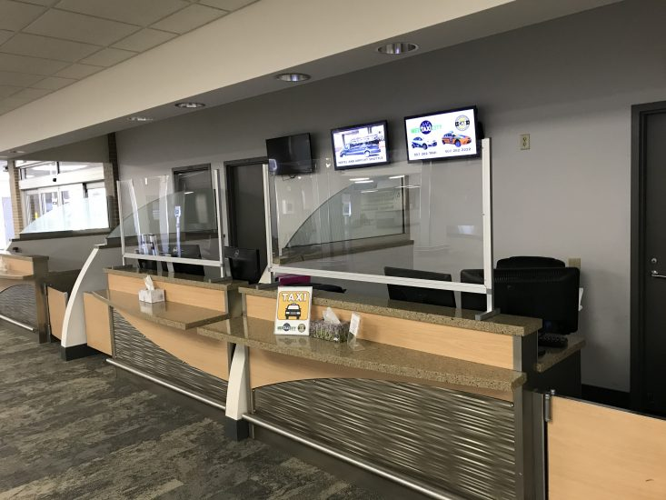 interior of airport car rental counter
