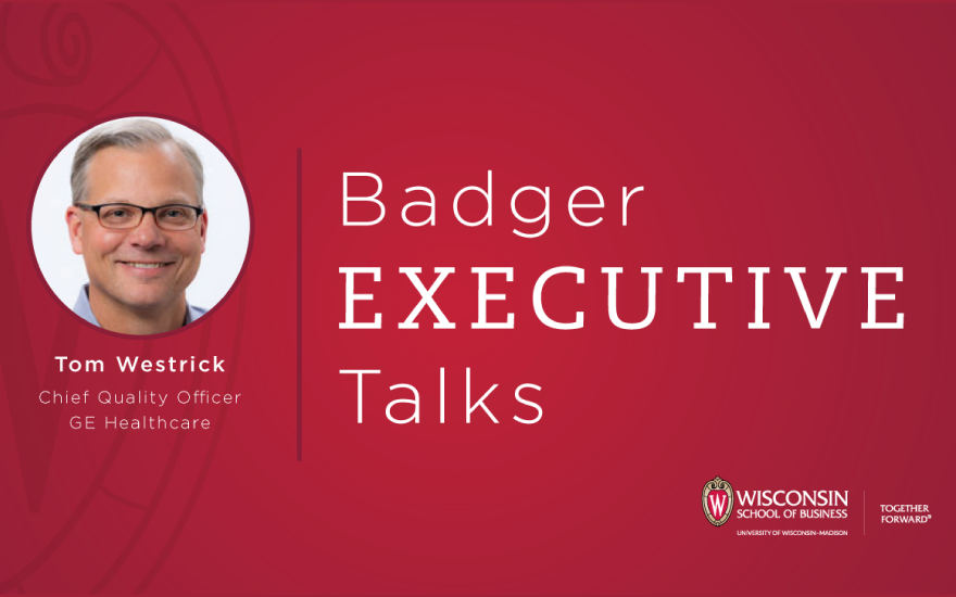Badger Executive Talks logo with photo of Tom Westrick