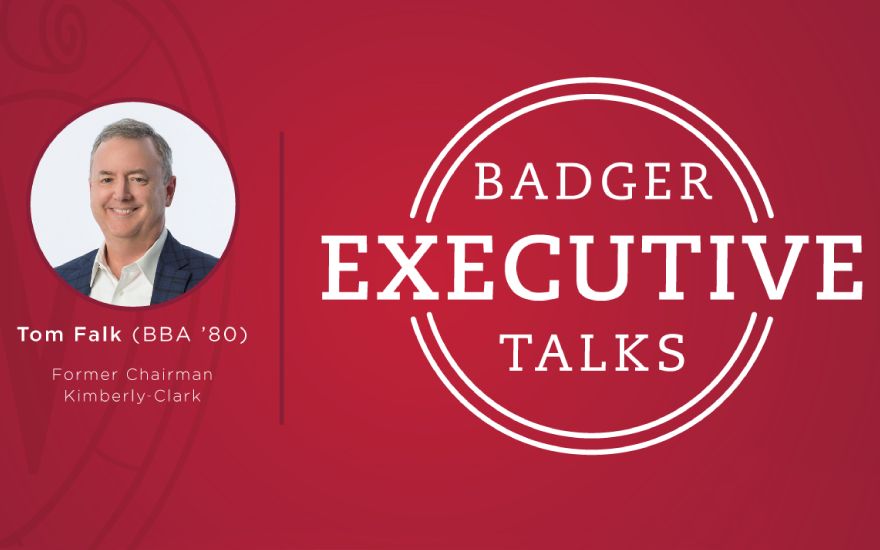 Badger Executive Talk logo with Tom Falk