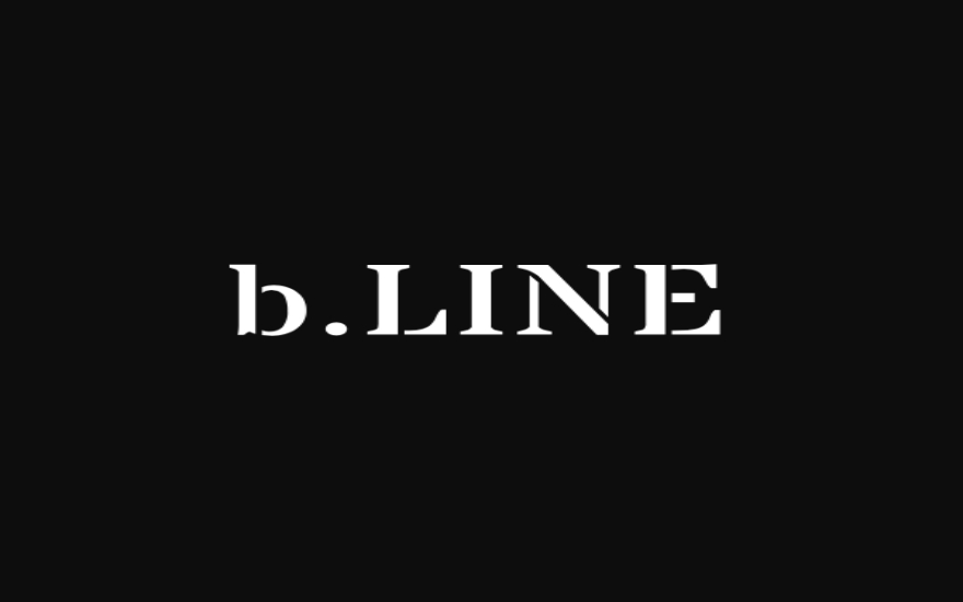 b.LINE logo in white font on black background