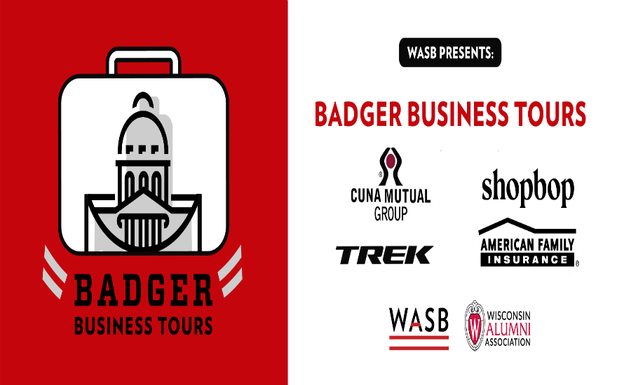 WASB banner for Badger Business Tours with the logos of CUNA Mutual Group, Trek Bicycles, Shopbop, and American Family Insurance