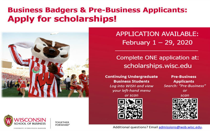 Image of Bucky with information describing how to apply for scholarships.