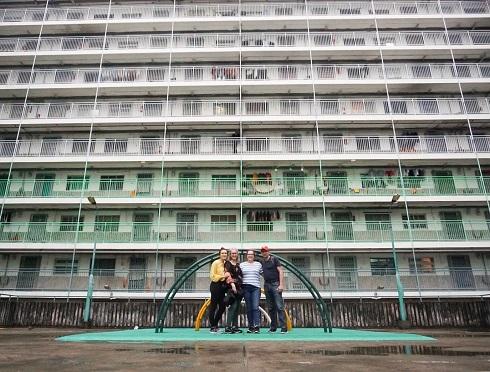 Family visiting a public housing estate