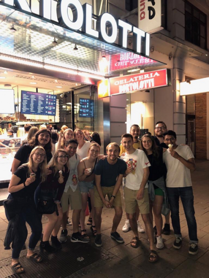 Group photo with friends from studying abroad in Vienna, Austria