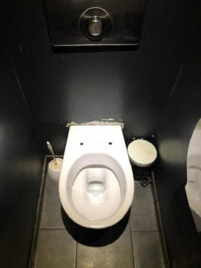 A no-seat toilet that can sometimes be found in restaurants