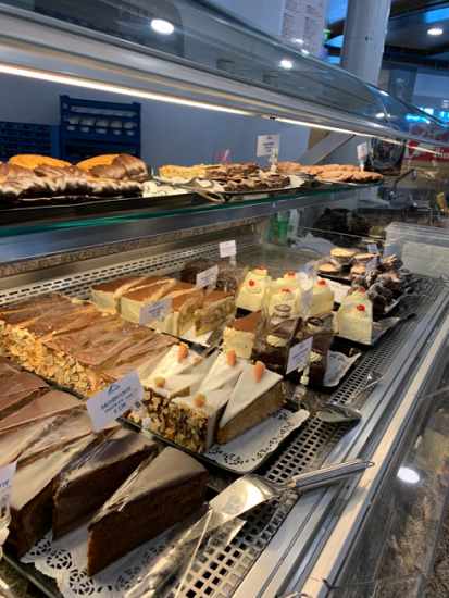 assorted cakes at a bakery