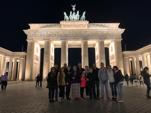 family photo at night in Berlin