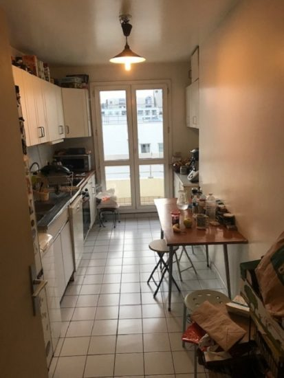 Galley like kitchen that is common in France