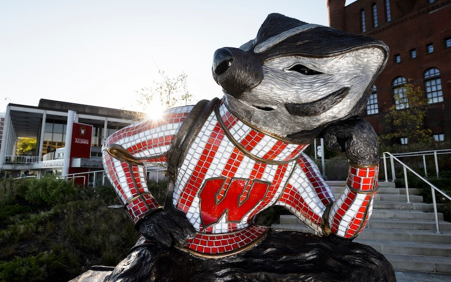 Bucky Badger statue in Alumni Park