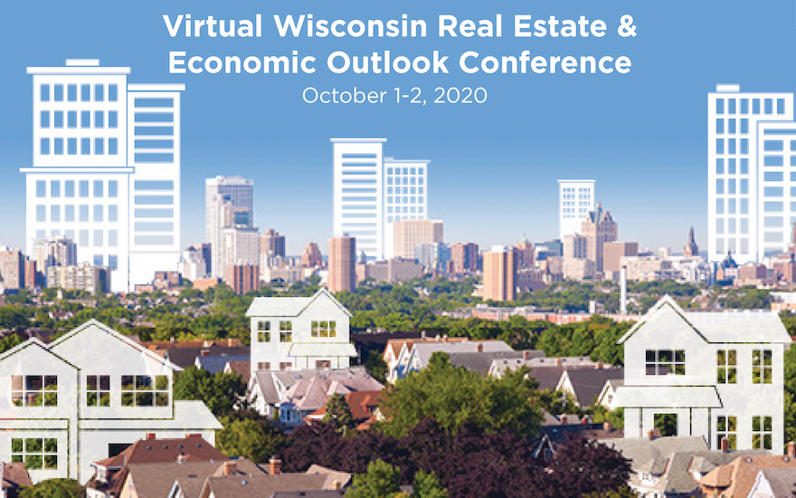 """a skyline with the title """"Virtual Real Estate & Economic Outlook Conference"""""""