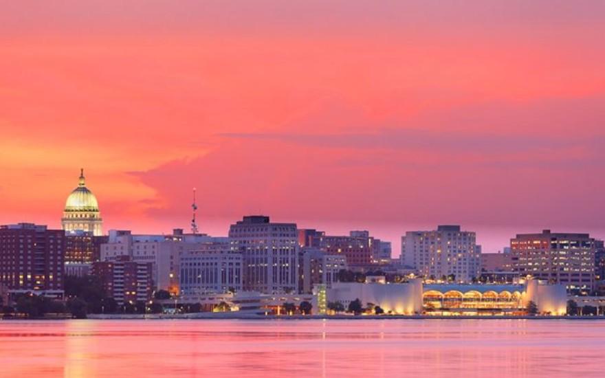 Madison skyline sunset
