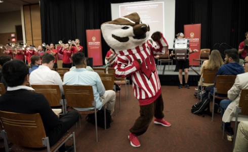 Bucky Badger and the UW Marching Band