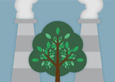 Smokestacks behind a tree