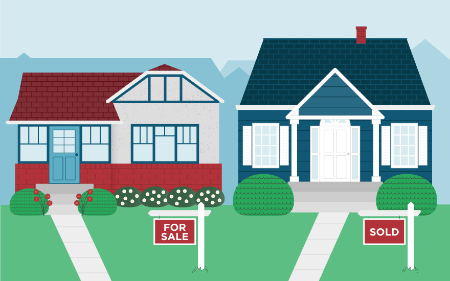 A graphic of two houses for sale