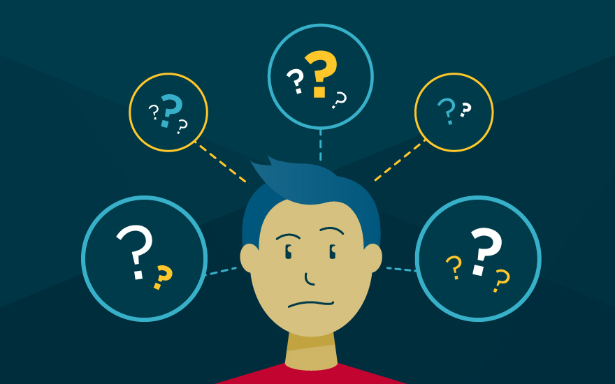 An illustration depicting a man thinking about many different choices he could make.