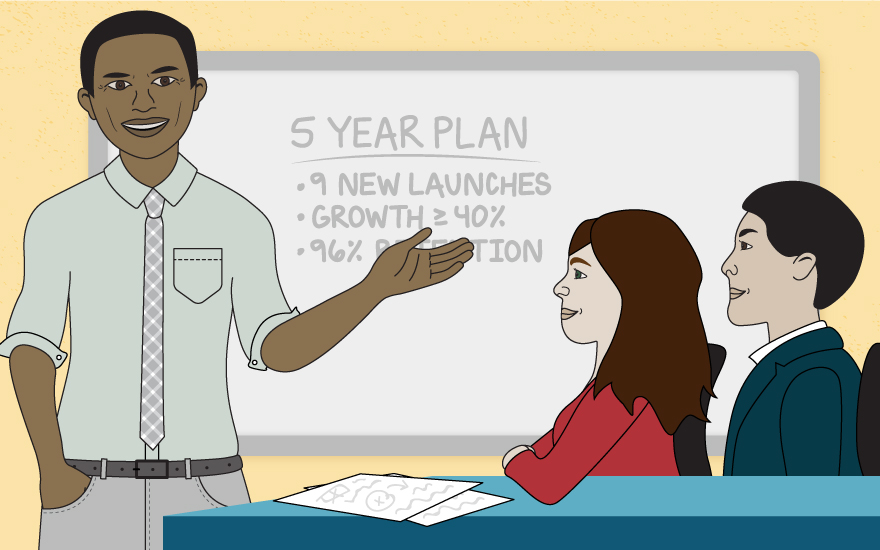 Illustration of an individual talking to students about a 5 year plan