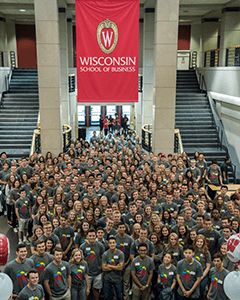 Incoming Wisconsin BBA students are welcomed during the Fall 2017 Induction.