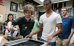 BBA students doing screenprinting