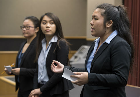 Students present during the case competition