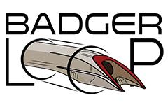 Badgerloop logo shows pod shooting through double 'o' letters