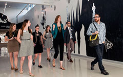 Arts Administration students visit a local art museum during orientation week