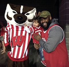 Brandon with his son and Bucky