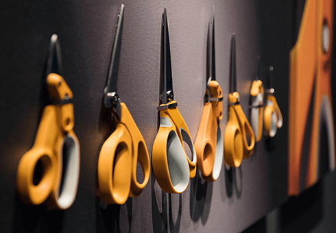Fiskars' famed orange scissors on display at the company's American headquarters