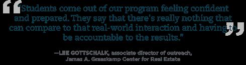 Quote from Graaskamp associate director of outreach Lee Gottschalk