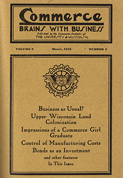 The cover of the 1918 publication titled Commerce - Brains with Business.