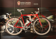 Red bicycle in Grainger Hall