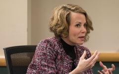Board member Christy Kaufman talking