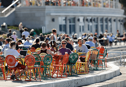 UW-Madison students enjoy a summer day at Memorial Union Terrace