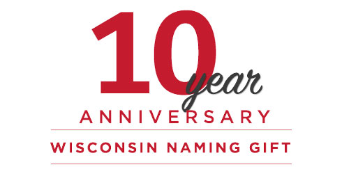 Red and white logo proclaiming Wisconsin Naming Gift Tenth Anniversary