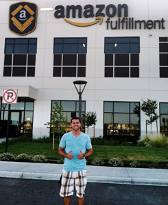Brock Poggensee in front of Amazon Building