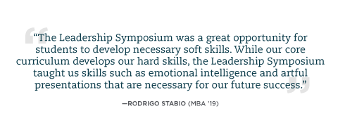 Student quote about Leadership Symposium