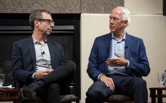 Alumni Paul Leff, left, and Stephen Petersen, discuss their business careers