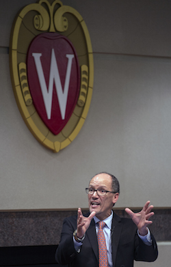 U.S. Secretary of Labor Tom Perez speaks at the University of Wisconsin