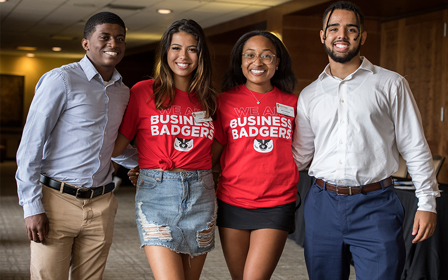 First-year Business Badgers pose together at BBA Induction at Union South.