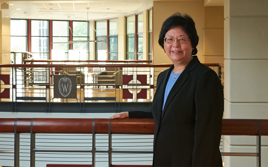 Ella Mae Matsumura poses for a portrait in Grainger Hall.