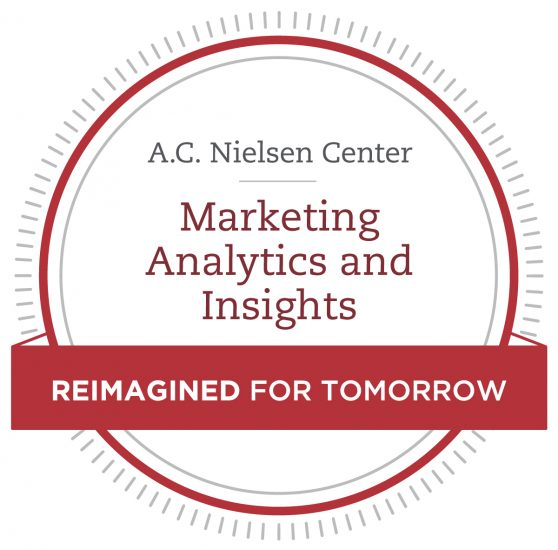 A banner showcasing the new name: A.C. Nielsen Center for Marketing Analytics and Insights