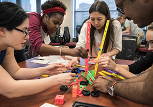 Students collaborate on a creative project during the Morgridge Entreprenuerial Bootcamp